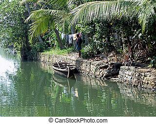 A local canoe in the Kerala Backwaters, India