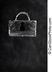 A Lock drawn with chalk