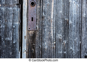 A locked wooden door