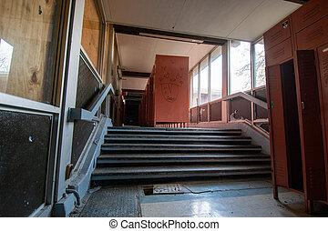 A Locker Room in an Abandoned School