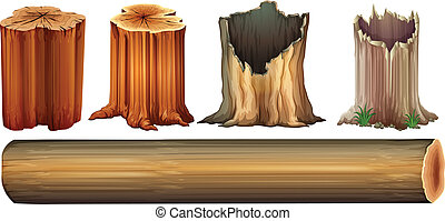 Illustration of a log and tree stumps on a white background