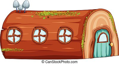 A log house on white background