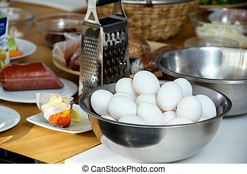 A log of eggs on the kitchen