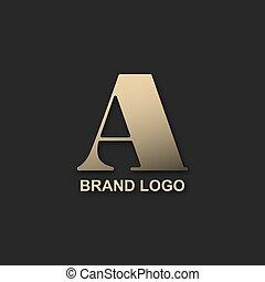 A logo metal gold design on a black background