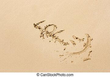 a, lol, escrito, ligado, um, praia areia