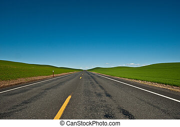 A lone and empty country road stretching into the horizon in the middle of wheat fields