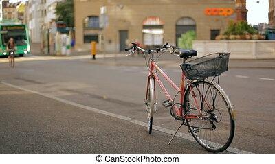 A lone bike on a beautiful European street