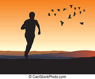 A lone runner on the horizon - illustration silhouettes...