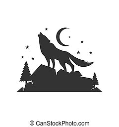 a lone wolf logo design background vector concept illustration