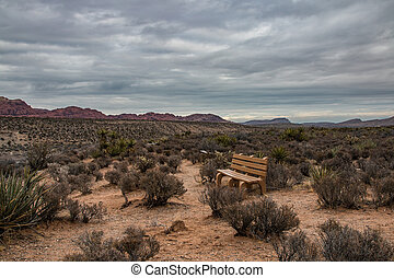 A lonely bench in the Red Rock Canyon National Conservation Area, USA