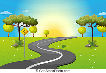 Illustration of a long and winding road at the forest