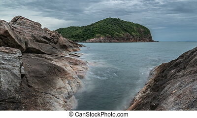 A long exposure of rocky coast. Timelapse 4K