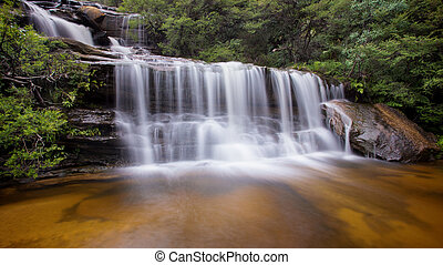 A long exposure of waterfalls, taken at Wentworth Falls in the Blue Mountains, near Sydney Australia