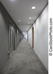 a long gray hallway with doors. light at the end of the...