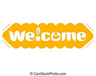 A long orange banner with the word welcome