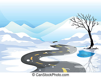 A long road at the snowy place going to the mountains