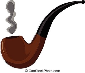 A long smoking pipe vector or color illustration