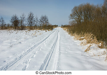 A long snowy road, winter sunny day