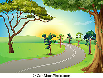 A long winding road at the forest - Illustration of a long...