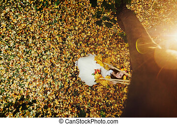 A look from above on a bride sitting on the swing over a lawn full of autumn leaves