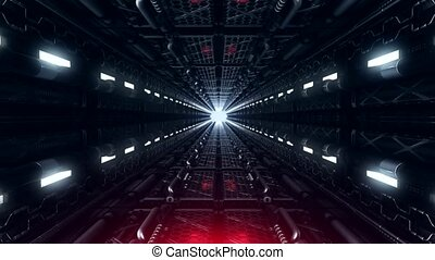 A loop VJ futuristic tunnel of pipes and neon lamps