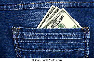 A lot of bank notes in jeans pocket