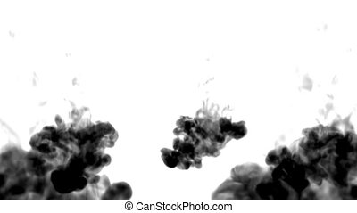 A lot of black ink flows on white moving in slow motion, ink or smoke inject . Black paint flow in water for Inky or smoky background or ink effects. Use luma matte like alpha mask or alpha channel