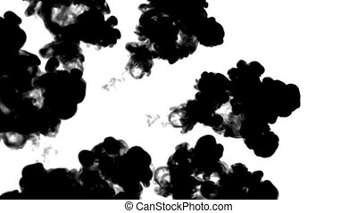 A lot of black ink flows on white moving in slow motion, ink...