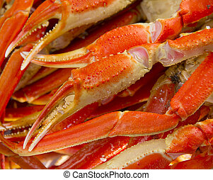 A lot of Boiled crab claws