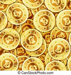 A lot of bright glossy golden coins with bitcoin sign, seamless pattern