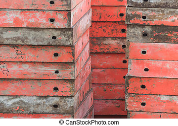 a lot of building site formworks in a construction