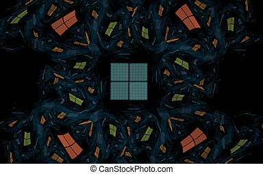 A lot of cells in the dark - Abstract illustration of...
