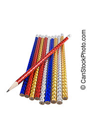 A lot of color pencils isolated on the white