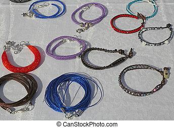 colorful bracelets for sale at flea market