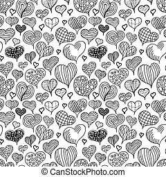 A lot of different cute doodle hand-drawn hearts, seamless pattern on white