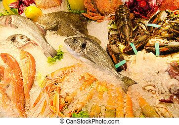 seafood on ice