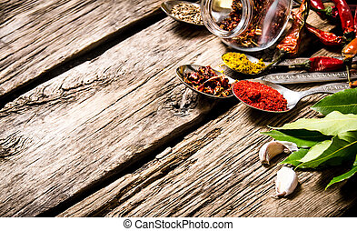 A lot of different spices in spoons with herbs and garlic.