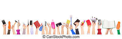 a lot of different things in the hands isolated on a white background