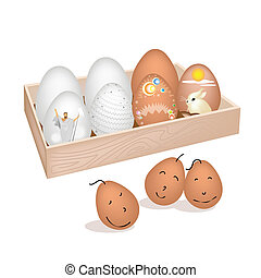 A Lot of Easter Egg in Wooden Container
