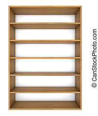 a lot of empty wooden shelves on the wall