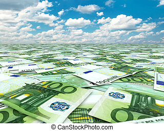 A lot of euro banknotes and sky. 3d