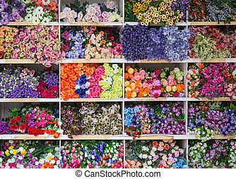 a lot of fake flower in the market