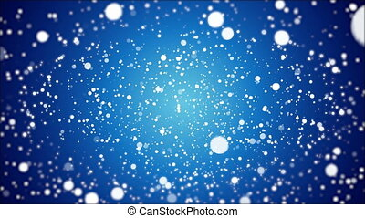 A lot of falling snow on a winter blue background, art video illustration.