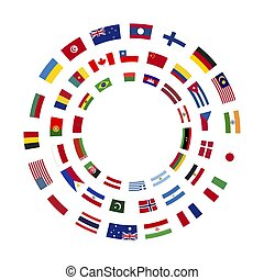 A lot of flags of sovereign states arranged in three circles on a white background