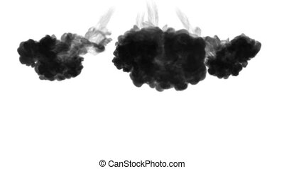 A lot of flows, black clouds or smoke, ink inject is...