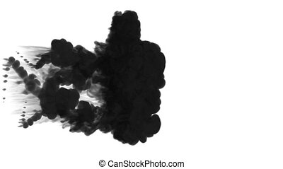 A lot of flows, black clouds or smoke, ink inject is isolated on white in slow motion. Black paint drop in water. Inky background or smoke backdrop, for ink effects use luma matte like alpha mask