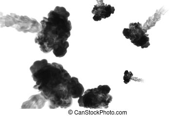 A lot of flows forming ring, ink inject is isolated on white in slow motion. Black paint flow in water. Inky background or backdrop with smoke, for ink effects use luma matte like alpha mask.