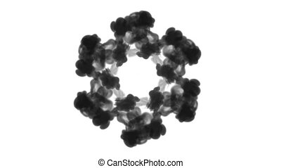 A lot of flows forming ring, ink inject is isolated on white in slow motion. Black colour flow in water. Inky background or backdrop with smoke, for ink effects use luma matte like alpha mask.