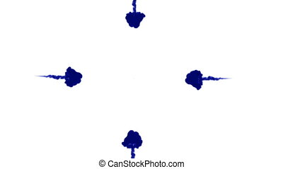 A lot of flows of isolated blue ink injects. Blue colour drop in water , shot in slow motion. Use for inky background or backdrop with smoke or ink effects, alpha channel is on use for it luma matte