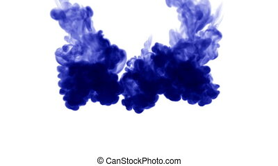 A lot of flows of isolated blue ink injects. Blue gouache drop in water , shot in slow motion. Use for inky background or backdrop with smoke or ink effects, alpha channel is on use for it luma matte